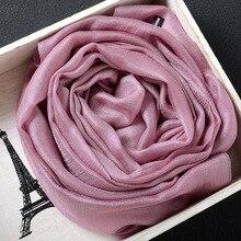 2020 Silk Scarves Women Cotton Chiffon Scarf Solid Foulard F
