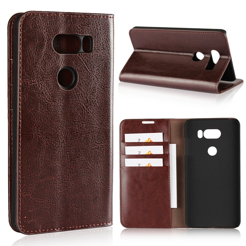 Flip-Case Etui Lg V30 Genuine-Leather Cover Hoesjes Coque Lg Luxury For Wallet Card Carcasas