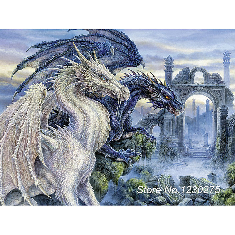 DIY Diamond Painting Cross Stitch 5D Full Square Mosaic Diamond Embroidery Home Decor Needlework Dragon castle SD638