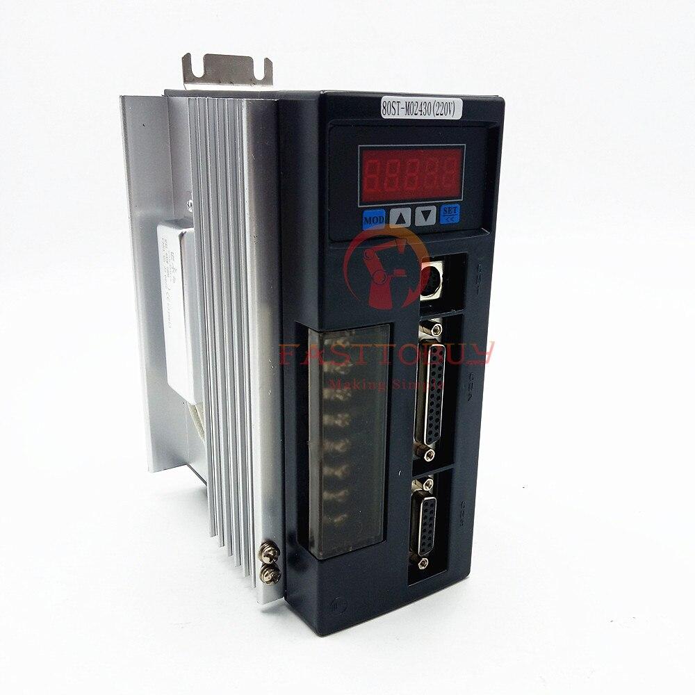 NEMA32 2.39Nm 0.75kw AC Servo Motor+Driver Kit 80ST-M02430 220V 750w 3000rpm RS485 MODbus for CNC Machining Equipment