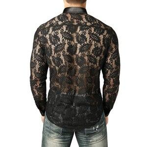 Image 2 - 남자의 잎 자수 투명 셔츠 슬림 피트 섹시한 Clubwear 드레스 셔츠를 통해 볼 남자 파티 이벤트 레이스 쉬어 탑스 블라우스