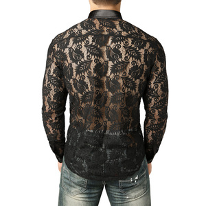 Image 2 - Mens Leaves Embroidery Transparent Shirt Slim Fit Sexy See Through Clubwear Dress Shirt Men Party Event Lace Sheer Tops Blouse