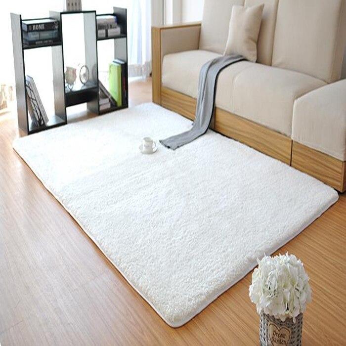 Nouveau Mode Blanc Moelleux Tapis Anti-Dérapage Shaggy salon de L'espace Accueil Chambre Tapis Épais velours corail Tapis de Sol LOSICOE-S10