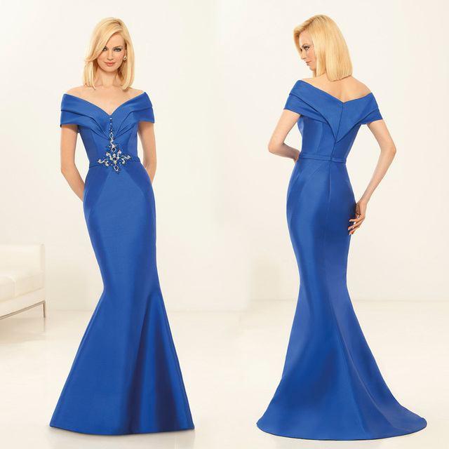 Concise And Easy Royal Blue Mother Of The Bride Dresses Elegant Off Shoulder Long Mermaid Formal