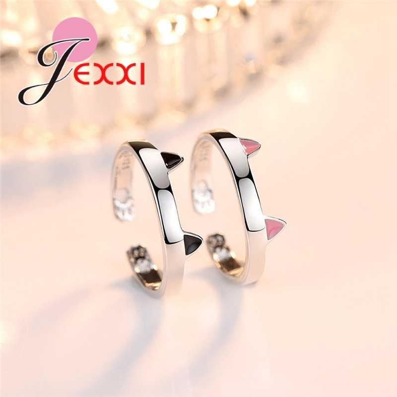 Grote Promotie Leuke Romantische Dier 925 Sterling Zilveren Kat Ringen voor Vrouwen Meisje Decoratie Engagement Verstelbare Ring Sieraden