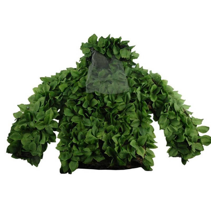 Woodland Camouflage Militare Ghillie Suits Mesh Traspirante + Foglie Verdi Sniper Vestiti per la Foresta di Caccia Sniper Ghillie Suits
