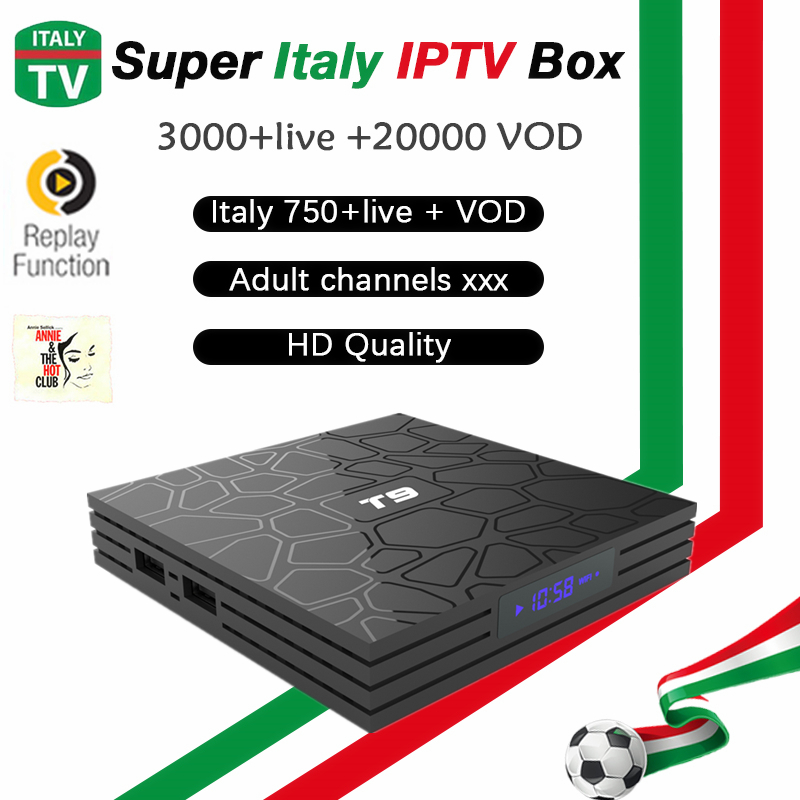 Italy T9 tv box android 8.1+Super iptv 5000 LIVE+60000 VOD adult xxx Germany France Portugal UK IPTV Italia m3u smart tv box a95x pro voice control with 1 year italy iptv box 2g 16g italy iptv epg 4000 live vod configured europe albania ex yu xxx