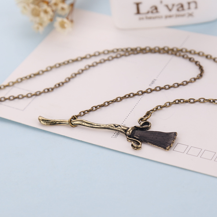 12pcs/lot Fashion necklace movie jewelry Hp necklace Antique bronze Magic broom pendant necklace for women men jewelry gift