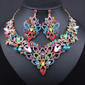 Handmade Exquisite colorful Crystal Necklace Earrings for Women Wedding accessory Fashion jewelry sets