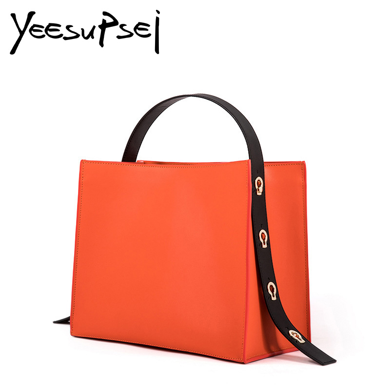 YeeSupSei Women Hard Leather Handbag Big Casual Female Bag Tote Spanish Wide Strap Shoulder Lady Large Bolsos Mujer