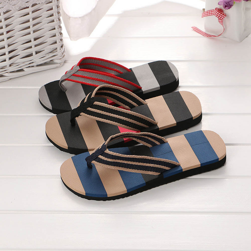 Summer Men Slippers 2018 New Fashion EVA Man Shoes Stripe Mixed Colors Flat Sandals Flip Flops Sandals Beach Home Flat Shoes