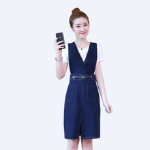 Summer Denim Dress New Korean Women Two-piece Strap Dress+short-sleeved Shirt Or Long-sleeved Elegant Slim