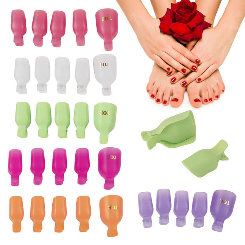 5Pcs Plastic Foot Toe Nail Art Soak Off Cap Clip UV Gel Polish Remover Wrap Tool Hot White/Pink/Purple/Orange/Green/Hot pink