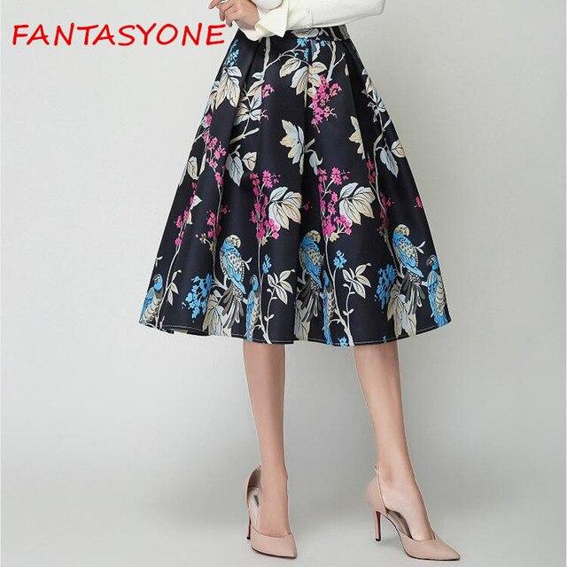 9d35befefd FANTASYONE 2017 Autumn Winter Women Maxi Skirt Vintage Floral Print High  Waist faldas Ball Gown Pleated Midi Skirts A Line Saias