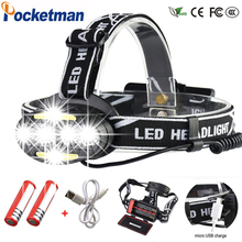 60000 Lumen headlamp 4* XM-L T6 +2*COB+2*Red LED Head Lamp Flashlight Torch Lanterna with batteries charger Headlight headlight 40000 lumen headlamp 4 xm l t6 2 cob 2 red led head lamp flashlight torch lanterna with batteries charger z91