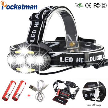 цена на Super Powerful headlamp 4* XM-L T6 +2*COB+2*Red LED Head Lamp Flashlight Torch Lanterna with batteries charger Headlight