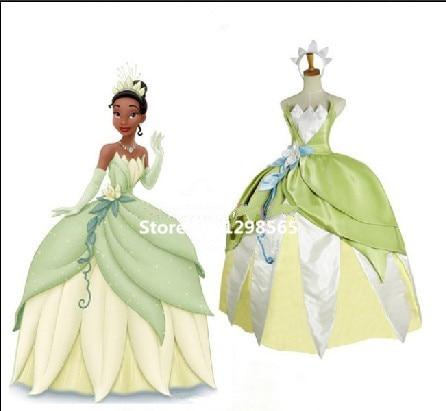 Free Shipping The Princess and the Frog Tiana Cosplay Tiana Princess Costume Cosplay Green Princess Costume the pony mad princess princess ellie s christmas