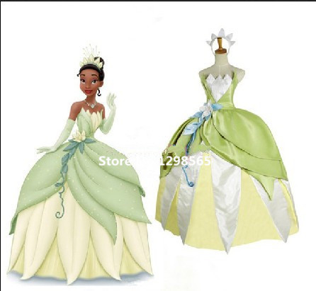 Free Shipping The Princess and the Frog Tiana Cosplay Tiana Princess Costume Cosplay Green Princess Costume
