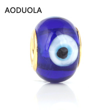 10 Pcs a Lot Royal Blue Glass Beads Round Gold With Evil eye Lampwork Czech Big Hole Bead Charm Fit For Pandora Charms Bracelets