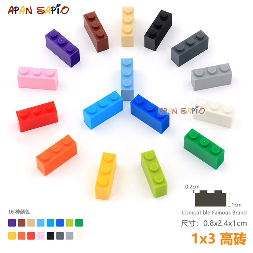 15pcs/lot DIY Blocks Building Bricks Thick 1X3 Educational Assemblage Construction Toys For Children Size Compatible With Lego