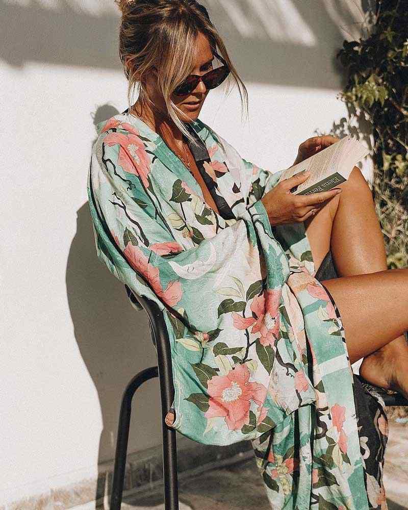 Зеленое винтажное кимоно в стиле ретро с принтом ночной гарды Boho maxi, рубашка кардиган с рукавами, богемная длинная Вязаная блуза с запахом, летние топы, пляжная одежда