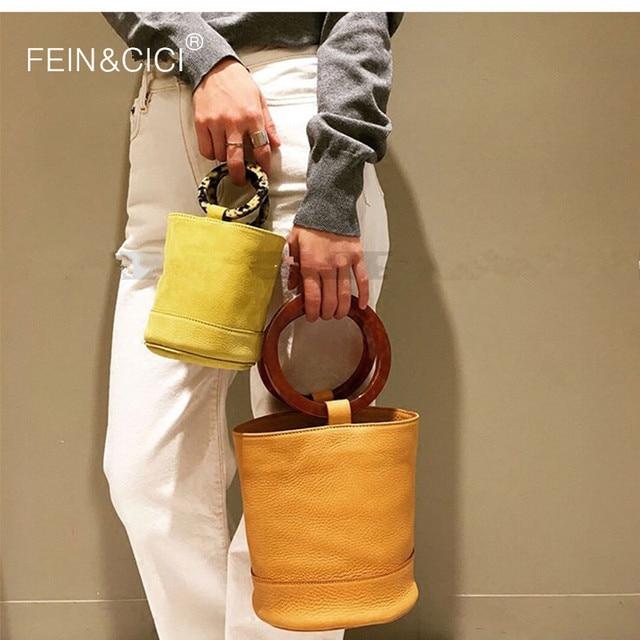Bucket bag round Acrylic totes handbag women summer 2018 luxury brand Circle barrel-shaped bag yellow blue brown drop shipping