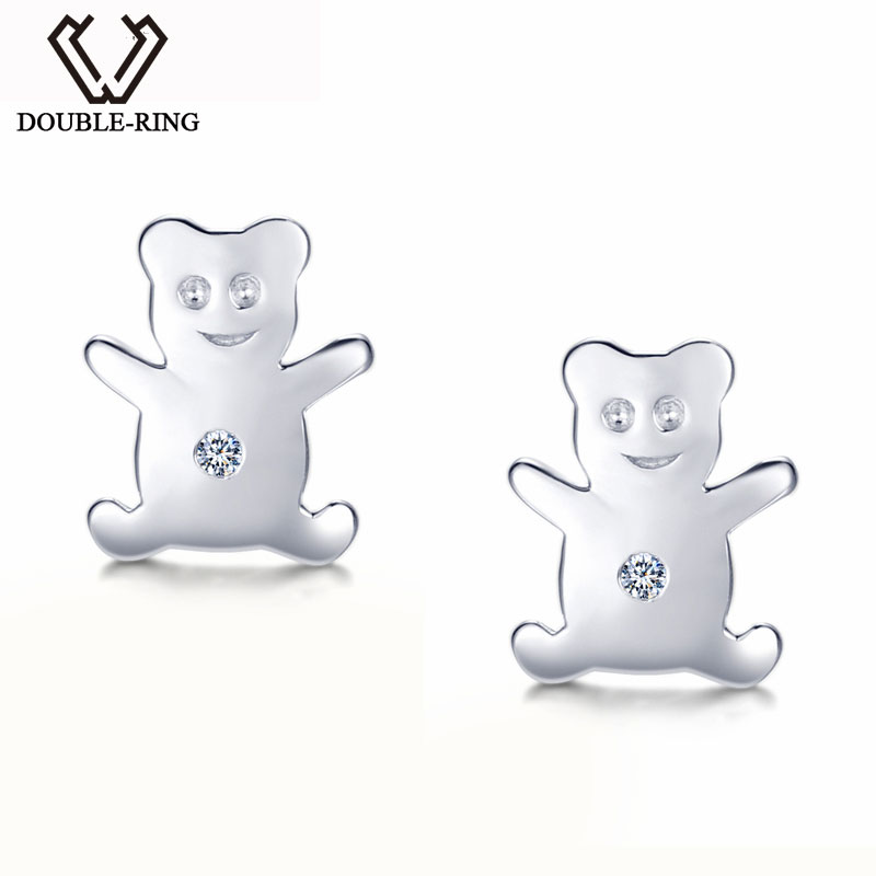 DOUBLE-R 0.01 Diamond earrings 925 sterling silver Bear Stud Earrings Diamond Jewelry Fine Jewelry for women ...