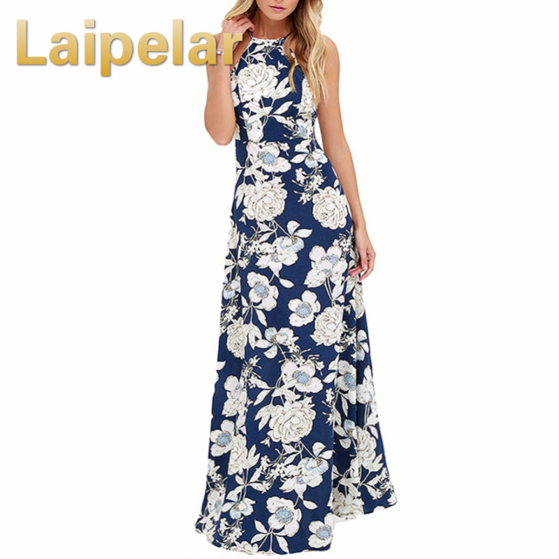 Laipelar Vintage Floral Print Summer Long Maxi Dress Off Shoulder Sexy Women Causal Dress Plus Size Beach Party Dresses Vestidos in Dresses from Women 39 s Clothing