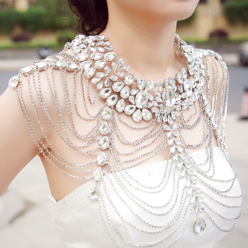 Luxury Wedding Jewelry Long Crystal Necklace Chain Bridal Shoulder Strap wedding Accessories For Women shoulder chains Jewelry цена