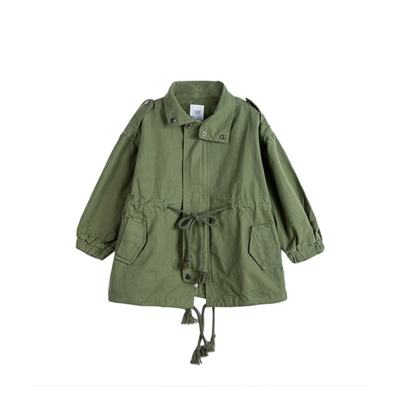 DFXD Children Clothes 2018 New Fashion Autumn White/Green Long Sleeve Cotton Zipper Loose   Trench   Coat Baby Girls Outwear 2-8Year