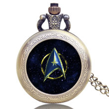 Vintage Pocket Watch Cool Star Trek Theme Design Glass Dome with Retro Bronze Necklace Chain Unique Gift Relogio De Bolso Clock(China)