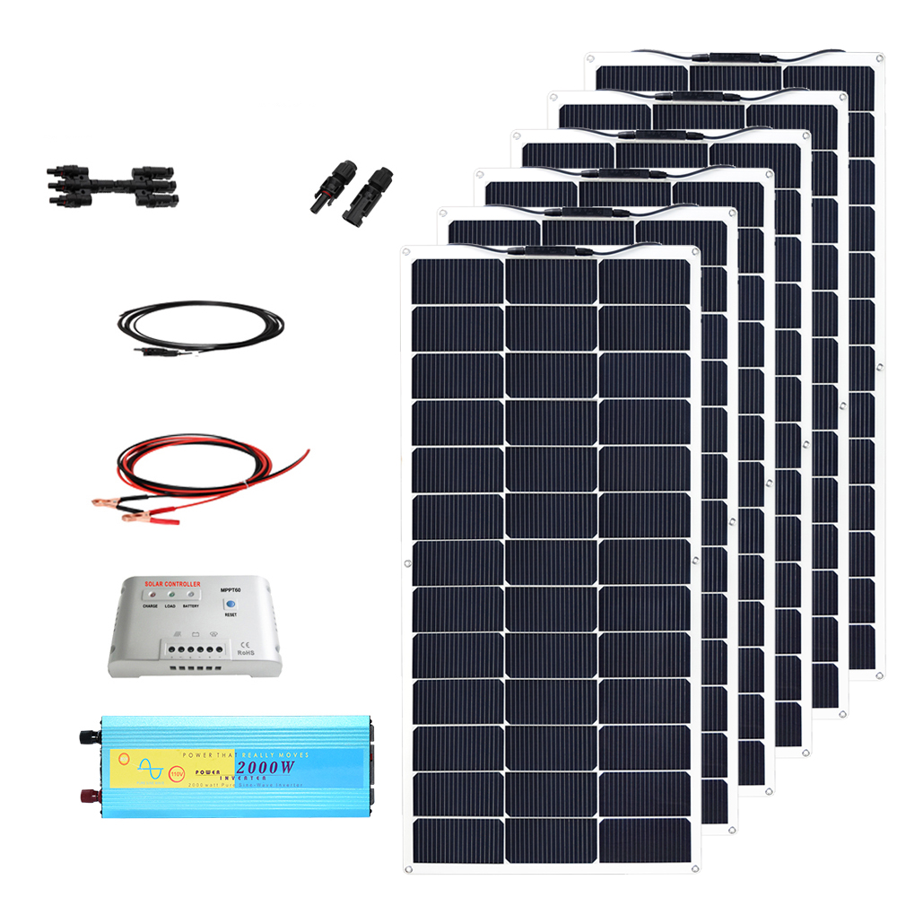 12v DIY kit solar system 600w flexible solar panel 100w module cell 50A MPPT controller 2000w inverter power MC4 battery