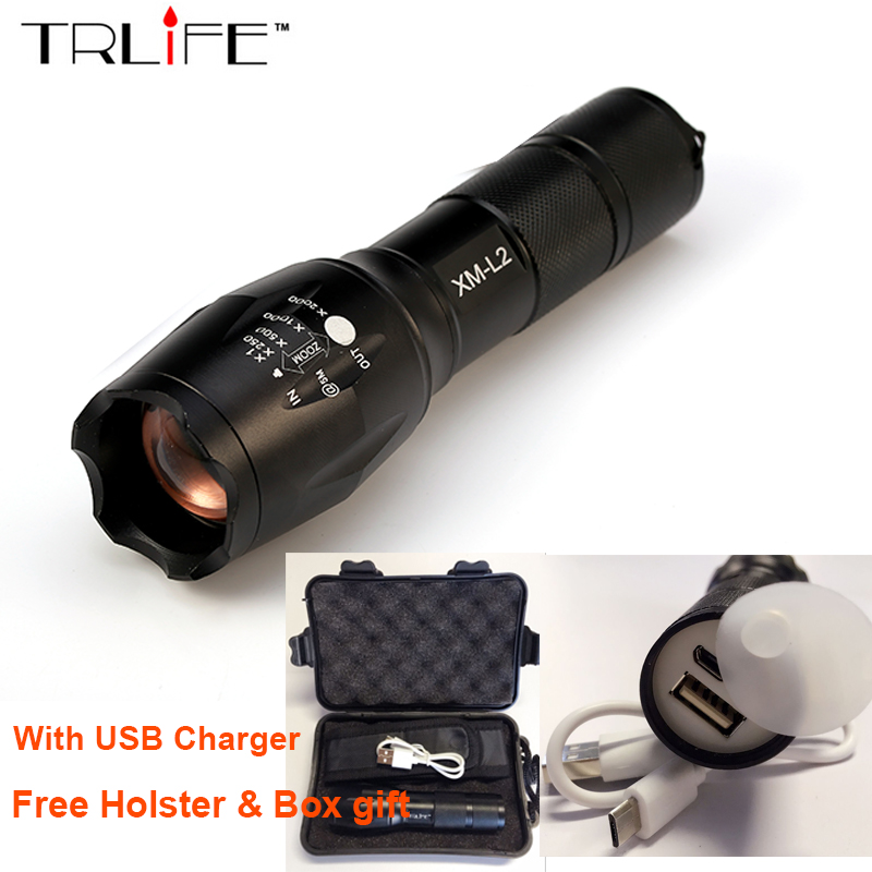 2017 USB Flashlight 8000 Lumens X900 LED CREE XM L2 T6 Tactical Torch Zoomable Powerful Light