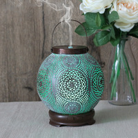 New Classical Hollow Pattern Aroma Diffuser Household Mute Ultrasonic Air Humidifier DC12V Colorful Light Essential Oil