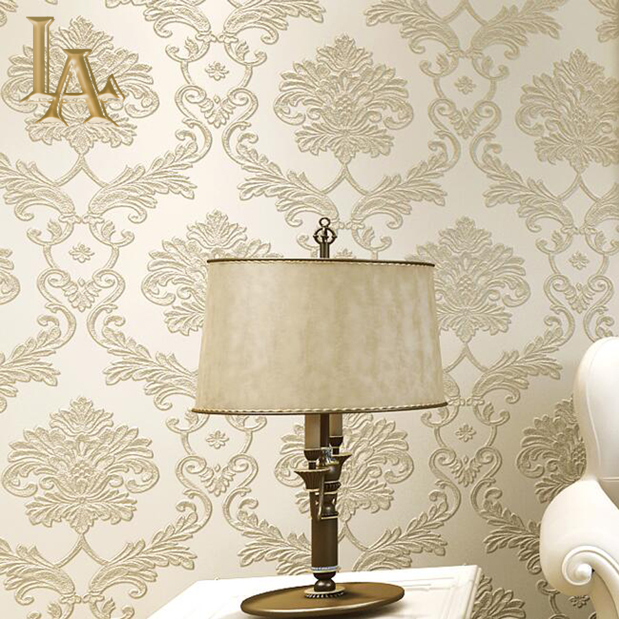European Vintage Damask 3D Stereoscopic Wallpaper For Walls Bedroom Living room Decor Beige Blue Brown Wall paper Rolls modern wallpaper for walls black white leaves pattern bedroom living room sofa tv home decor luxury european wall paper rolls