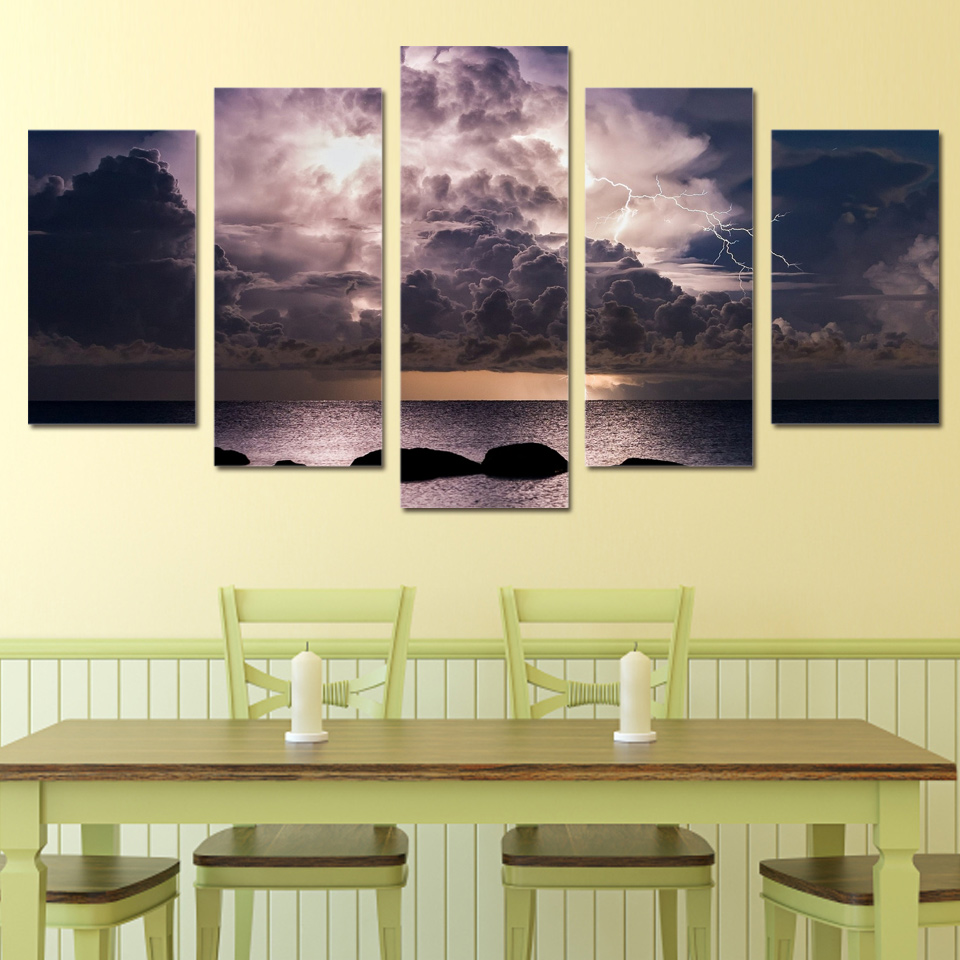 5 Piece Canvas Prints Wall Art Black Clouds Lightning Painting ...