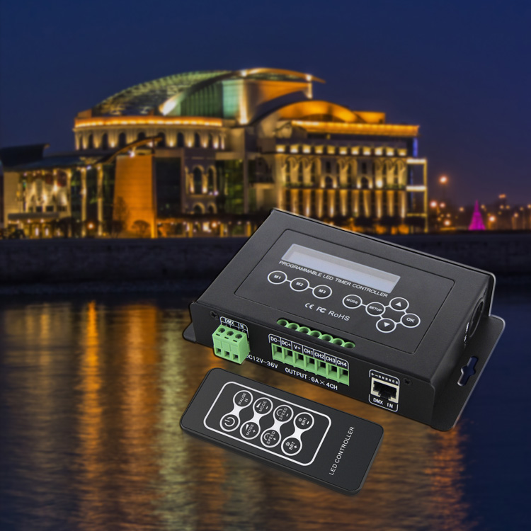 BC 300 DC12V 36V Time programmable led dimmer RGB RGBW Strip Light Controller programmable Timer Light DMX 512 Controller - 5