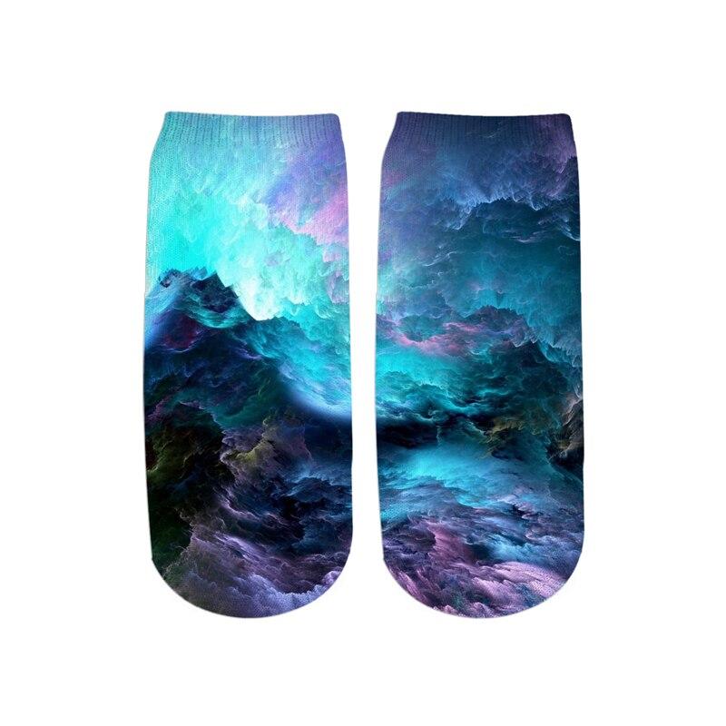 PLstar Cosmos Drop shipping 2019 New 3D Printed Galaxy space cute cotton short ankle socks for Men women harajuku korean socks 2