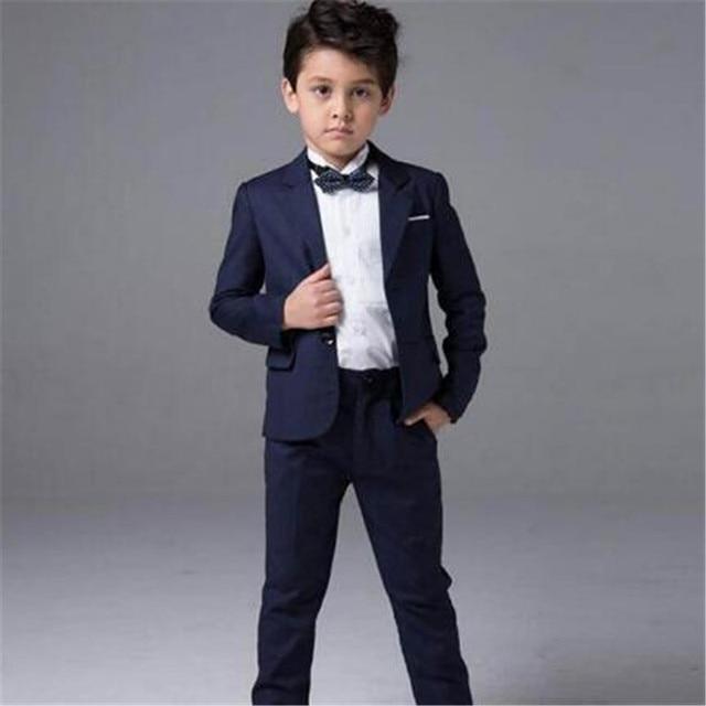 2018 Latest Coat Pant Designs Navy Blue Boy Suit 2pieces(Jacket+Pants+Tie)  Prom Wedding Slim Fit Kids Blazer Tuxedos ce642bed2a06