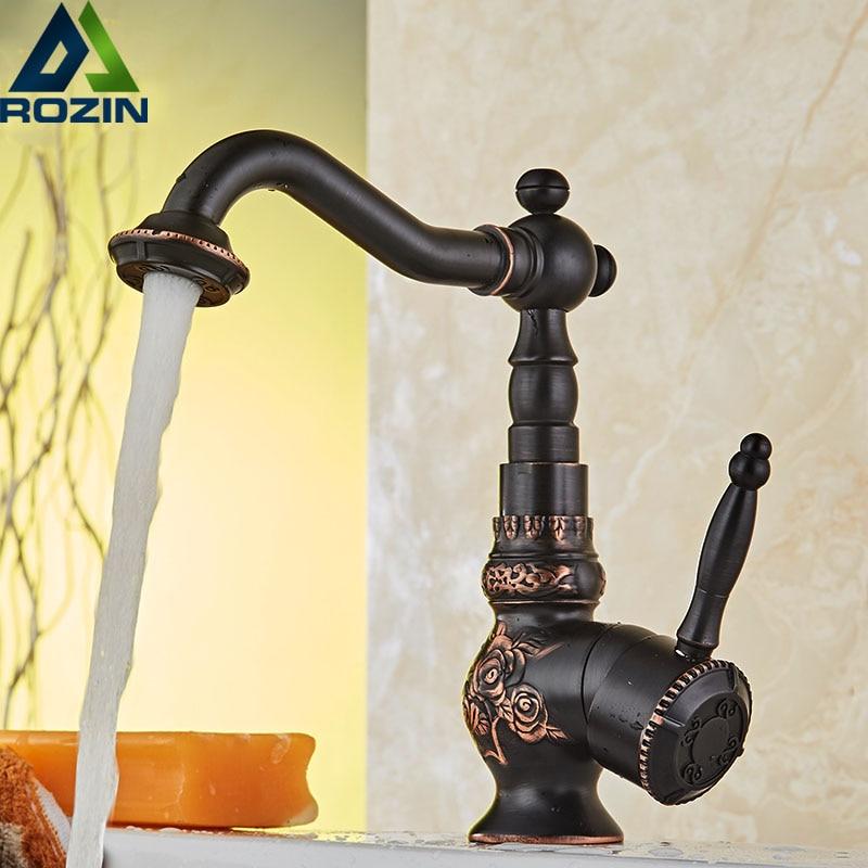 Artistic Bathroom Vessel Sink Faucet Single Lever Swivel Spout Basin Faucet Deck Mounted Bathroom Kitchen Mixer Tap Hot Cold Tap