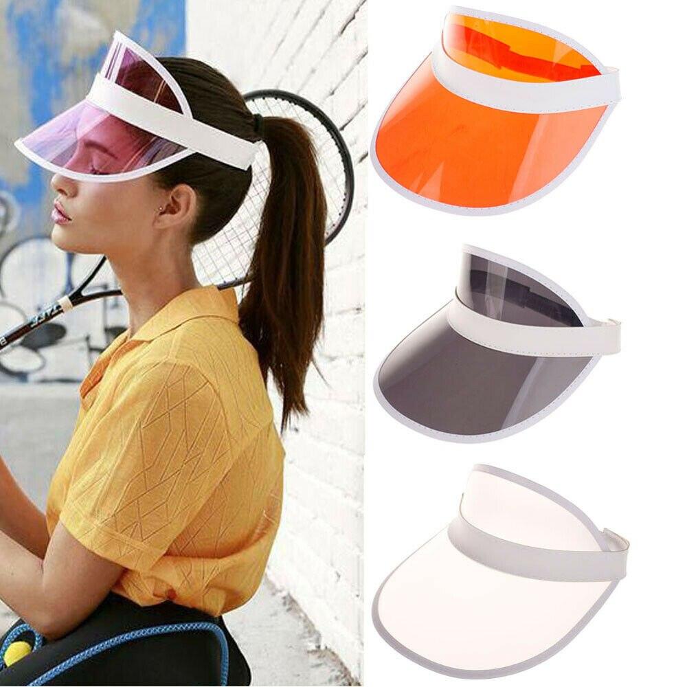 US Summer Hat Sun Visor Party Casual Hat PVC Clear Plastic Adult Sunscreen Cap