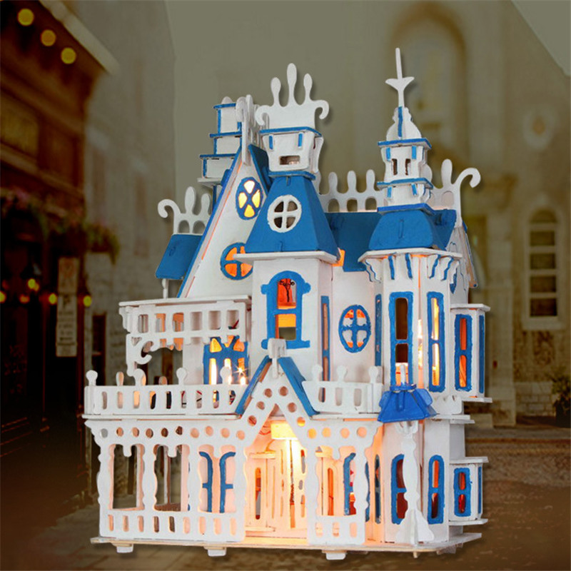 Wood Dollhouse Furniture Kit Miniature Fairy Tale Castle Puzzle Mode DIY Doll House LED Light Kids Children Xmas Birthday Gift