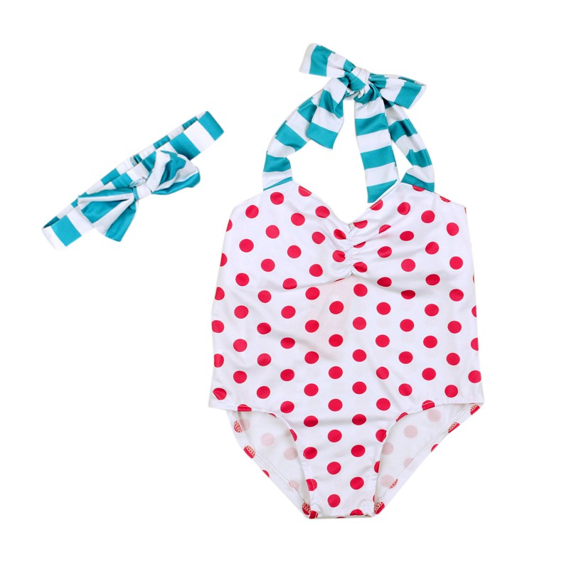 Stylish Summer Baby Swimsuit Comfortable For Dressing In Playing In Beach With Polka Dot With Sleeveless