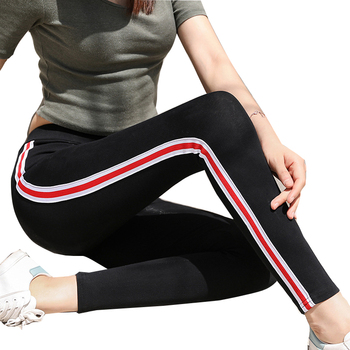 Wsfs Black Grey Knitted Fitness Leggings Striped High Elastic Waist Pants Bandage Trouser Women Pencil Pantalones Mujer Femme image