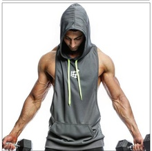 ZOGAA Summer Compression Sport Vest for Men Hight Elastic Leisure Running Tank Top with Hat Outdoor Sports Sleeveless VEST