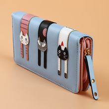 Women Wallet Cat Cartoon Wallet Long Creative Female Card Holder PU Wa