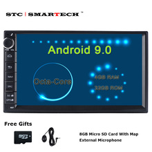 SMARTECH 2 Din Octa Core Android 9 Car Radio GPS Navigation Autoradio System 4GB RAM 32GB ROM Support TPMS 3G WIFI DAB OBD DVR ownice c500 g10 android 8 1 octa core 2g ram 32g rom gps navi 9 inch car dvd multimedia for bmw e90 dab dvr tpms carplay