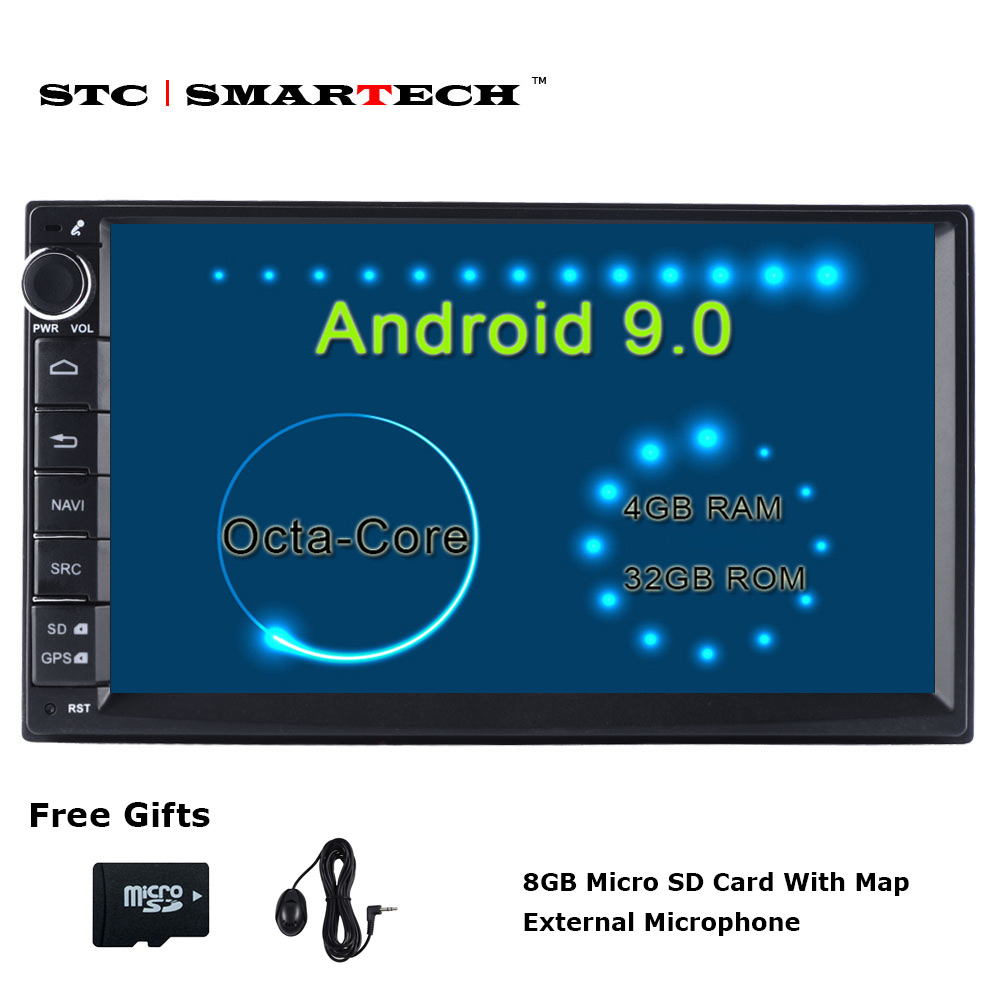SMARTECH 2 Din Octa Core Android 9 Car Radio GPS Navigation Autoradio System 4GB RAM 32GB ROM Support TPMS 3G WIFI DAB OBD DVR