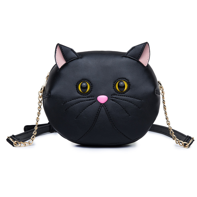 Cute Cat Small Shoulder Bag for Women Girls Crossbody Messenger Bags Black White PU Leather Ladie Mini Chain Bags 2017  women brand 2017 cactus shoulder bags girls cute novelty funny bag leather handbags mini crossbody bags design clutch messenger
