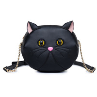 Cute Cat Small Shoulder Bag for Women Girls Crossbody Messenger Bags Black White PU Leather Ladie Mini Chain Bags 2017
